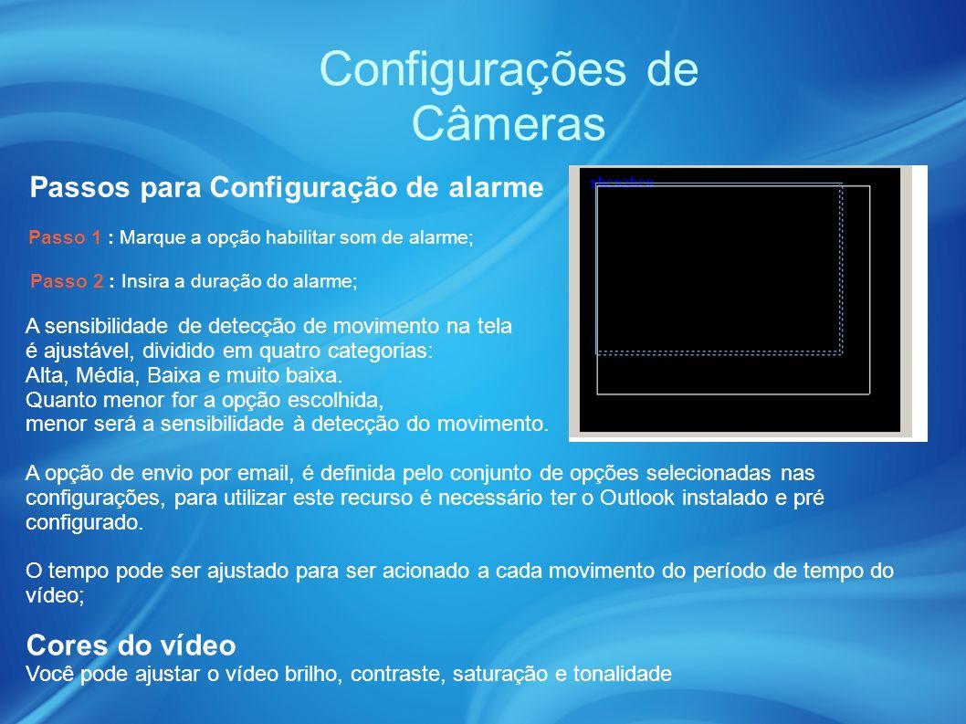Configurações de Câmeras A sensibilidade de detecção de movimento na tela é ajustável, dividido em quatro categorias: Alta, Média, Baixa e muito baixa.
