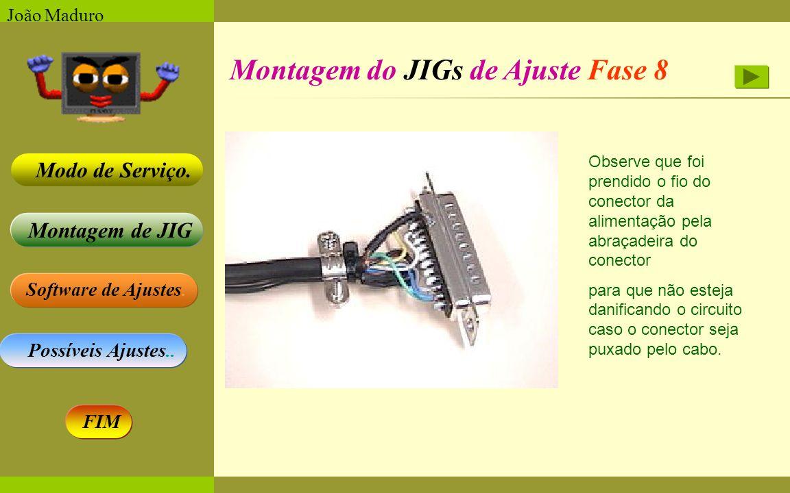 Software de Ajustes. Possíveis Ajustes.. Montagem de JIG Modo de Serviço. FIM João Maduro Montagem do JIGs de Ajuste Fase 8 Observe que foi prendido o