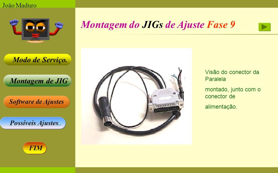 Software de Ajustes. Possíveis Ajustes.. Montagem de JIG Modo de Serviço. FIM João Maduro Montagem do JIGs de Ajuste Fase 9 Visão do conector da Paral