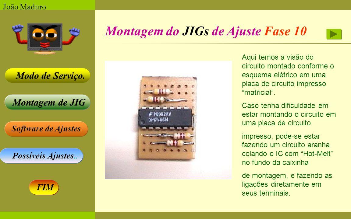 Software de Ajustes. Possíveis Ajustes.. Montagem de JIG Modo de Serviço. FIM João Maduro Montagem do JIGs de Ajuste Fase 10 Aqui temos a visão do cir