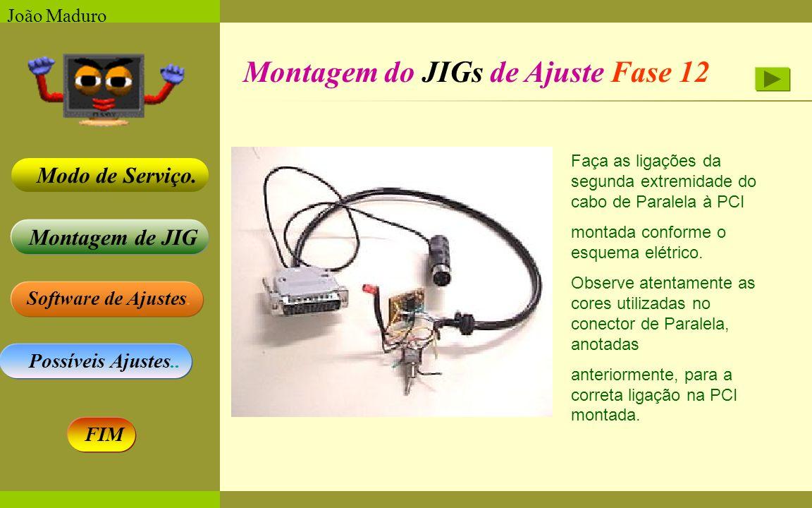 Software de Ajustes. Possíveis Ajustes.. Montagem de JIG Modo de Serviço. FIM João Maduro Montagem do JIGs de Ajuste Fase 12 Faça as ligações da segun