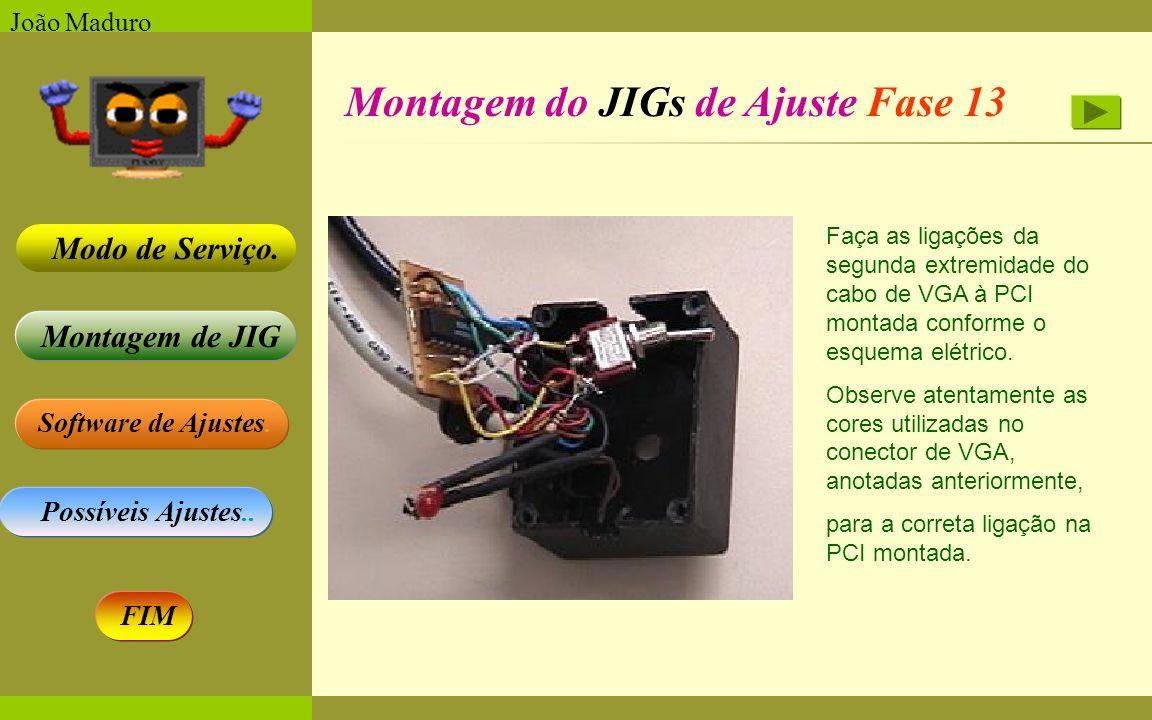 Software de Ajustes. Possíveis Ajustes.. Montagem de JIG Modo de Serviço. FIM João Maduro Montagem do JIGs de Ajuste Fase 13 Faça as ligações da segun