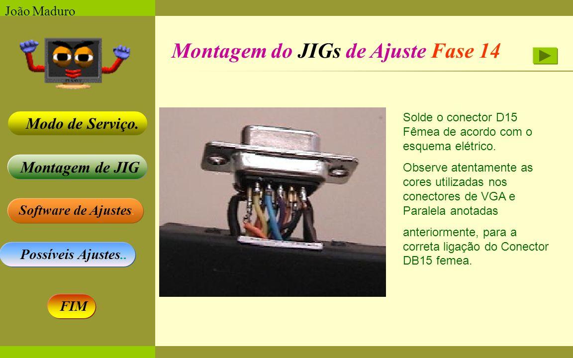 Software de Ajustes. Possíveis Ajustes.. Montagem de JIG Modo de Serviço. FIM João Maduro Montagem do JIGs de Ajuste Fase 14 Solde o conector D15 Fême