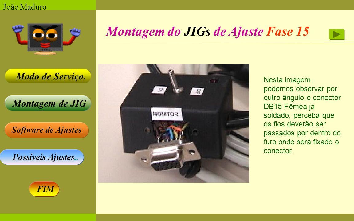 Software de Ajustes. Possíveis Ajustes.. Montagem de JIG Modo de Serviço. FIM João Maduro Montagem do JIGs de Ajuste Fase 15 Nesta imagem, podemos obs