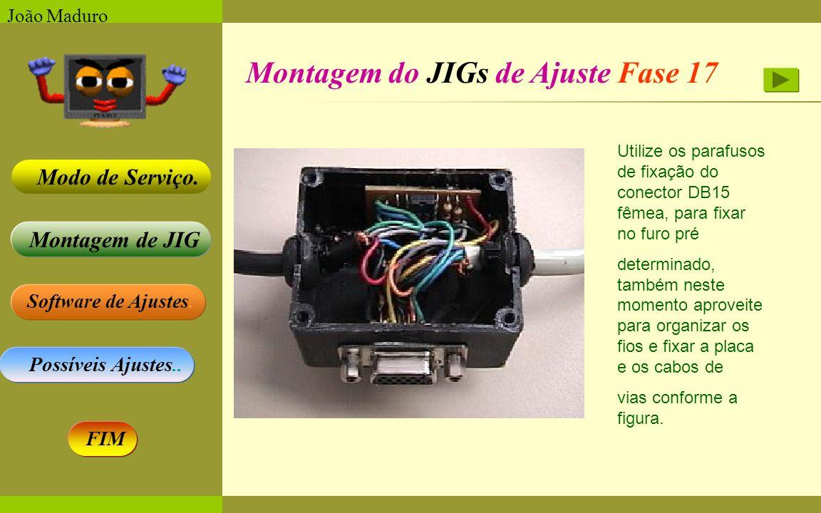 Software de Ajustes. Possíveis Ajustes.. Montagem de JIG Modo de Serviço. FIM João Maduro Montagem do JIGs de Ajuste Fase 17 Utilize os parafusos de f