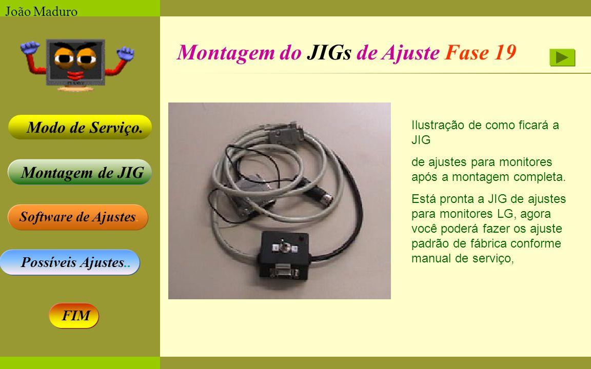 Software de Ajustes. Possíveis Ajustes.. Montagem de JIG Modo de Serviço. FIM João Maduro Montagem do JIGs de Ajuste Fase 19 Ilustração de como ficará