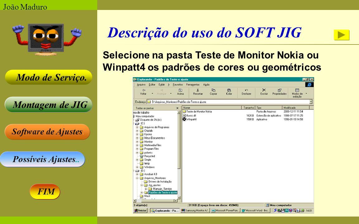 Software de Ajustes. Possíveis Ajustes.. Montagem de JIG Modo de Serviço. FIM João Maduro Descrição do uso do SOFT JIG Selecione na pasta Teste de Mon