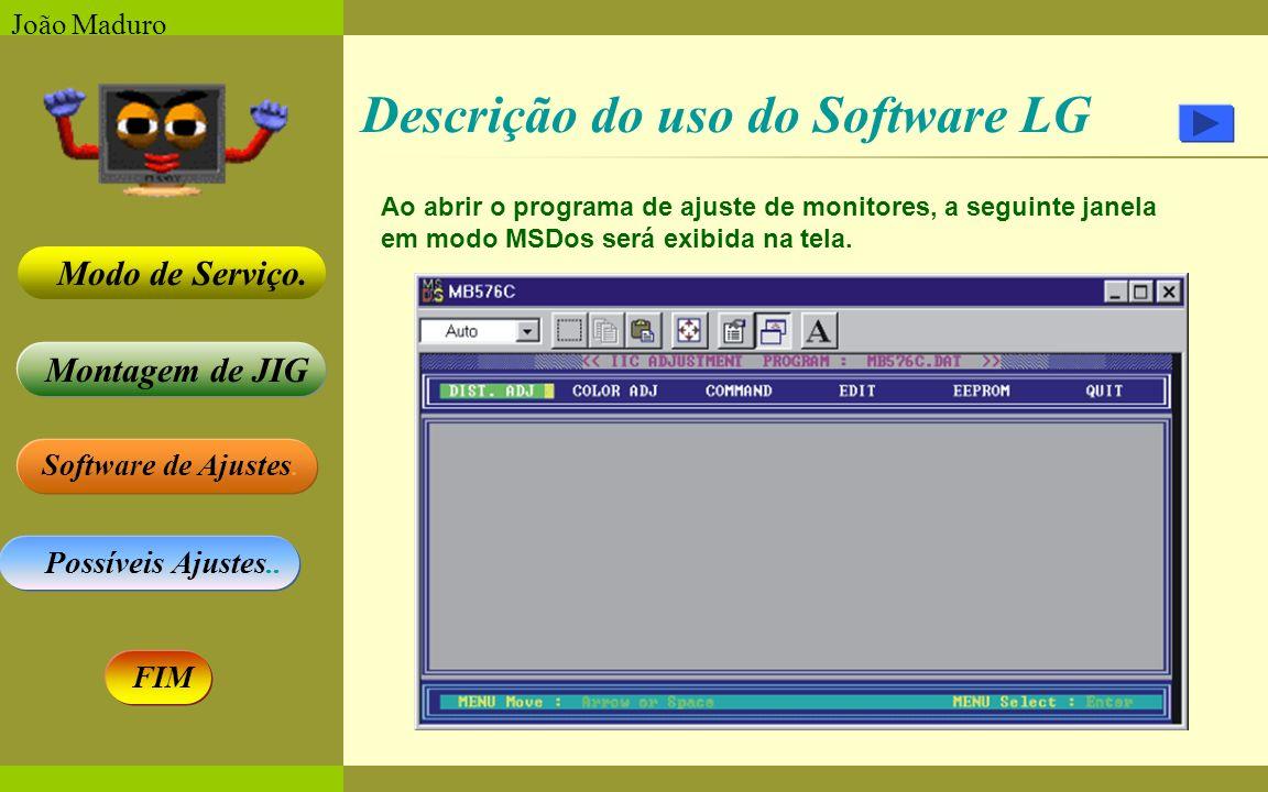 Software de Ajustes. Possíveis Ajustes.. Montagem de JIG Modo de Serviço. FIM João Maduro Ao abrir o programa de ajuste de monitores, a seguinte janel