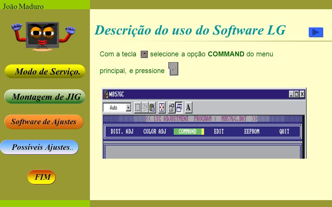 Software de Ajustes. Possíveis Ajustes.. Montagem de JIG Modo de Serviço. FIM João Maduro Descrição do uso do Software LG Com a tecla selecione a opçã
