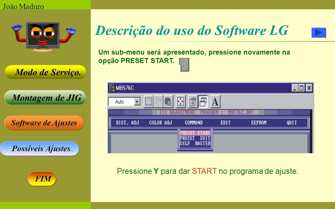 Software de Ajustes. Possíveis Ajustes.. Montagem de JIG Modo de Serviço. FIM João Maduro Descrição do uso do Software LG Um sub-menu será apresentado