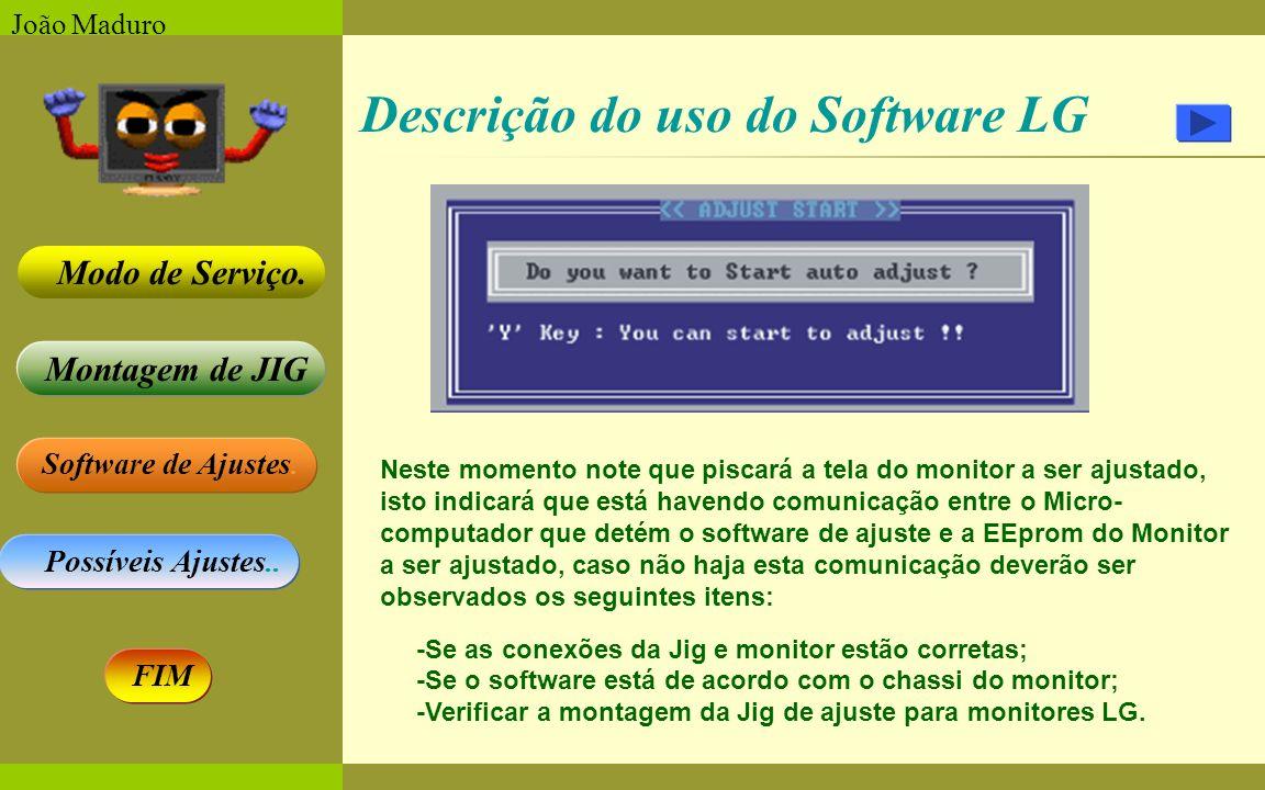 Software de Ajustes. Possíveis Ajustes.. Montagem de JIG Modo de Serviço. FIM João Maduro Descrição do uso do Software LG Neste momento note que pisca