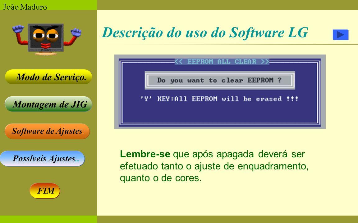 Software de Ajustes. Possíveis Ajustes.. Montagem de JIG Modo de Serviço. FIM João Maduro Descrição do uso do Software LG Lembre-se que após apagada d