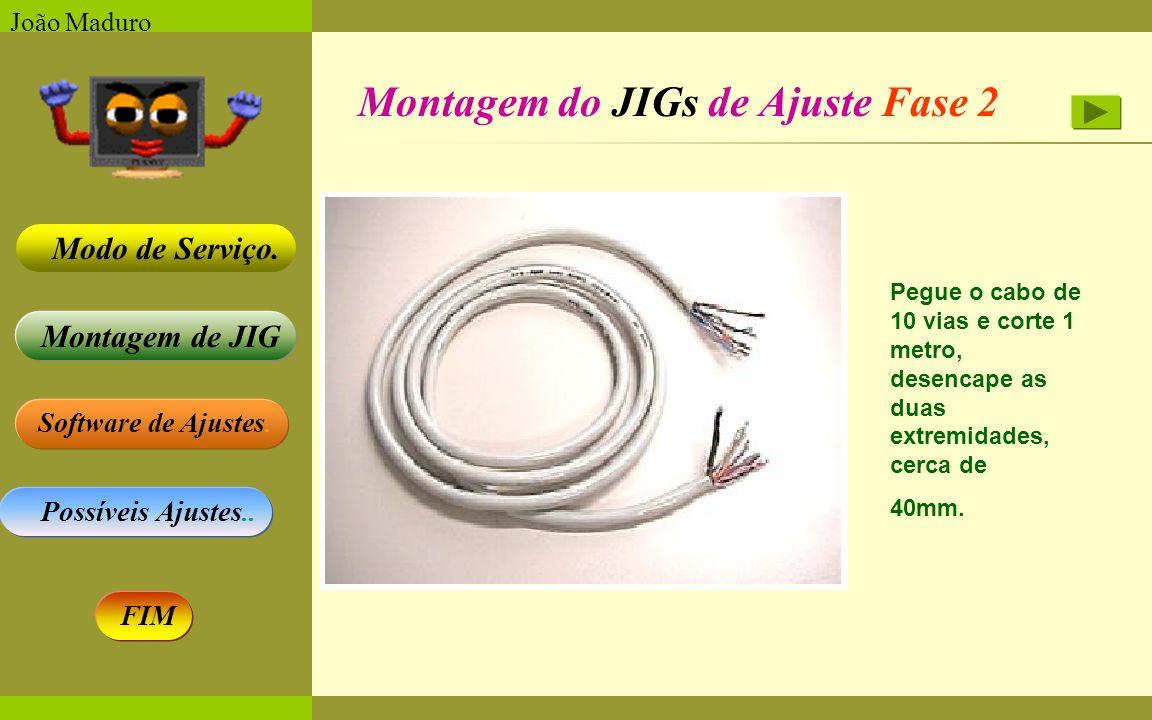 Software de Ajustes. Possíveis Ajustes.. Montagem de JIG Modo de Serviço. FIM João Maduro Montagem do JIGs de Ajuste Fase 2 Pegue o cabo de 10 vias e
