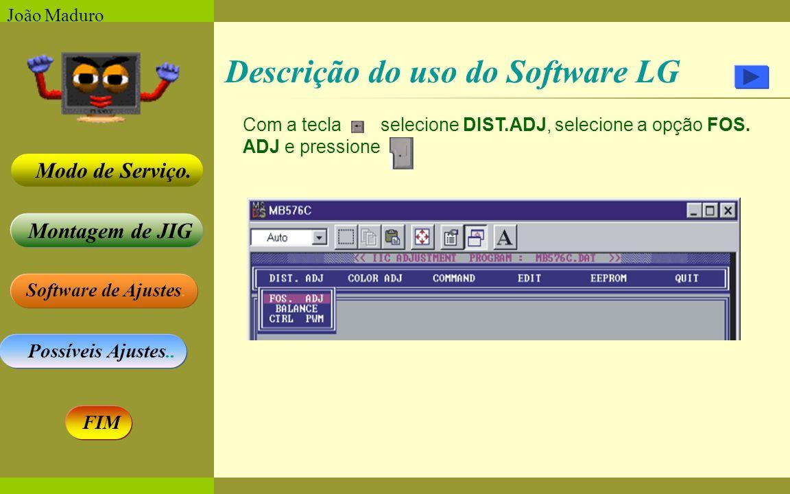 Software de Ajustes. Possíveis Ajustes.. Montagem de JIG Modo de Serviço. FIM João Maduro Descrição do uso do Software LG Com a tecla selecione DIST.A