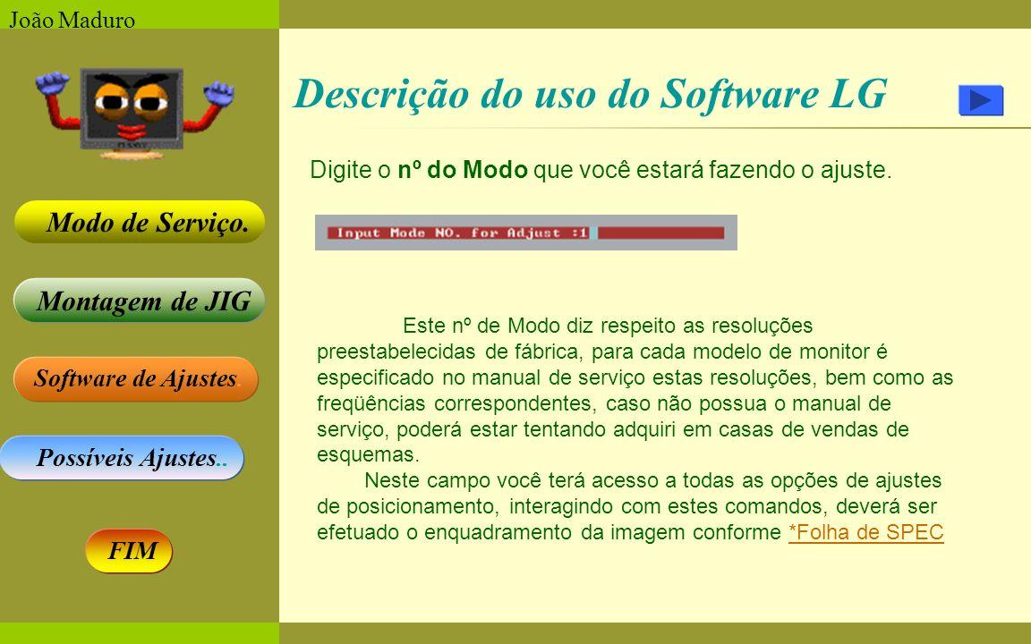 Software de Ajustes. Possíveis Ajustes.. Montagem de JIG Modo de Serviço. FIM João Maduro Descrição do uso do Software LG Digite o nº do Modo que você