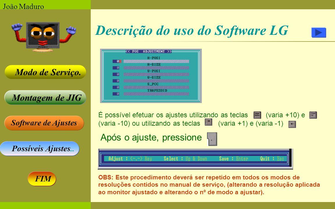 Software de Ajustes. Possíveis Ajustes.. Montagem de JIG Modo de Serviço. FIM João Maduro Descrição do uso do Software LG É possível efetuar os ajuste