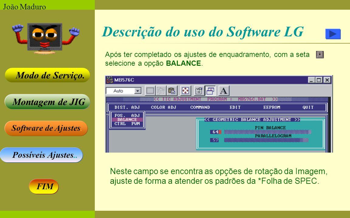 Software de Ajustes. Possíveis Ajustes.. Montagem de JIG Modo de Serviço. FIM João Maduro Descrição do uso do Software LG Após ter completado os ajust