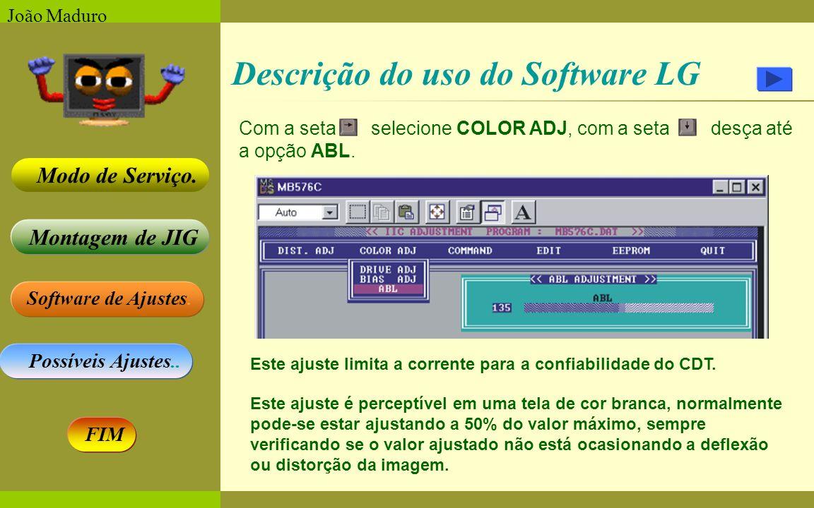 Software de Ajustes. Possíveis Ajustes.. Montagem de JIG Modo de Serviço. FIM João Maduro Descrição do uso do Software LG Com a seta selecione COLOR A