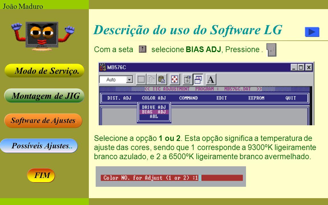 Software de Ajustes. Possíveis Ajustes.. Montagem de JIG Modo de Serviço. FIM João Maduro Descrição do uso do Software LG Com a seta selecione BIAS AD