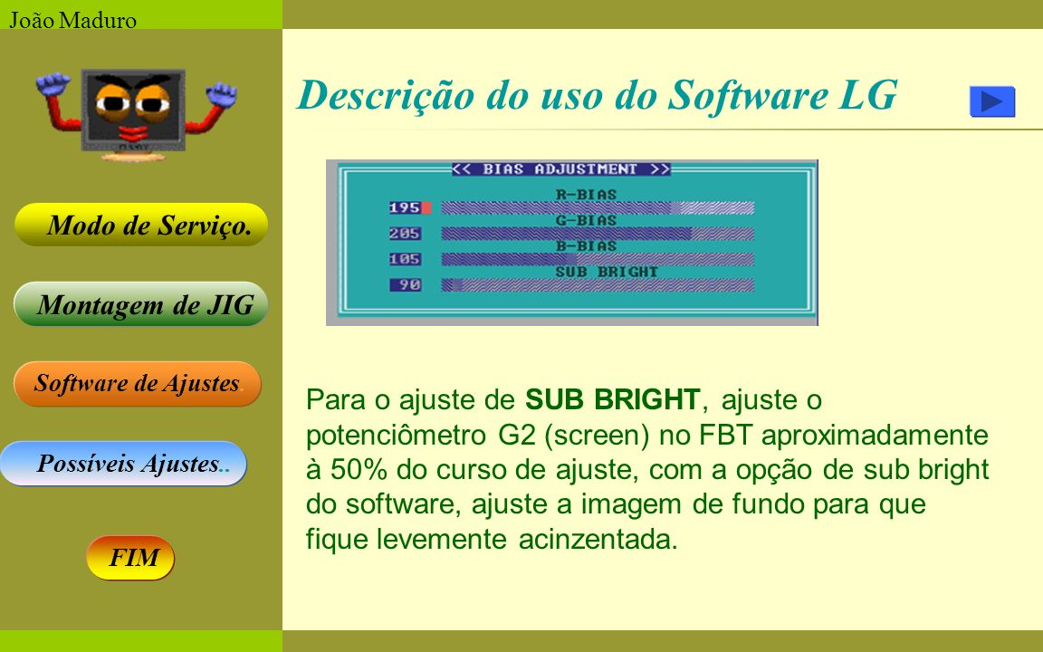 Software de Ajustes. Possíveis Ajustes.. Montagem de JIG Modo de Serviço. FIM João Maduro Descrição do uso do Software LG Para o ajuste de SUB BRIGHT,