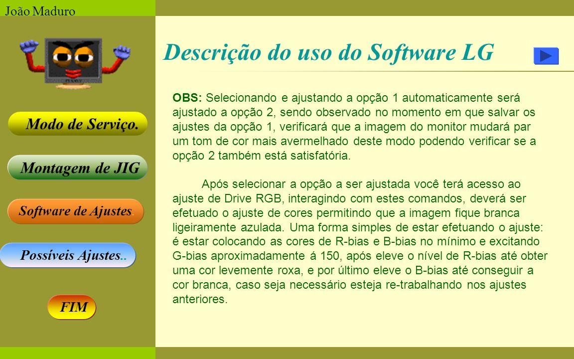 Software de Ajustes. Possíveis Ajustes.. Montagem de JIG Modo de Serviço. FIM João Maduro Descrição do uso do Software LG OBS: Selecionando e ajustand