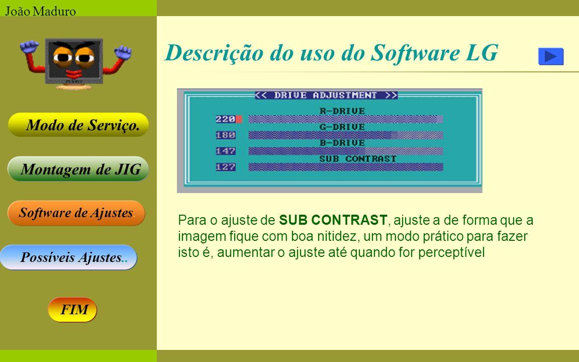 Software de Ajustes. Possíveis Ajustes.. Montagem de JIG Modo de Serviço. FIM João Maduro Descrição do uso do Software LG Para o ajuste de SUB CONTRAS