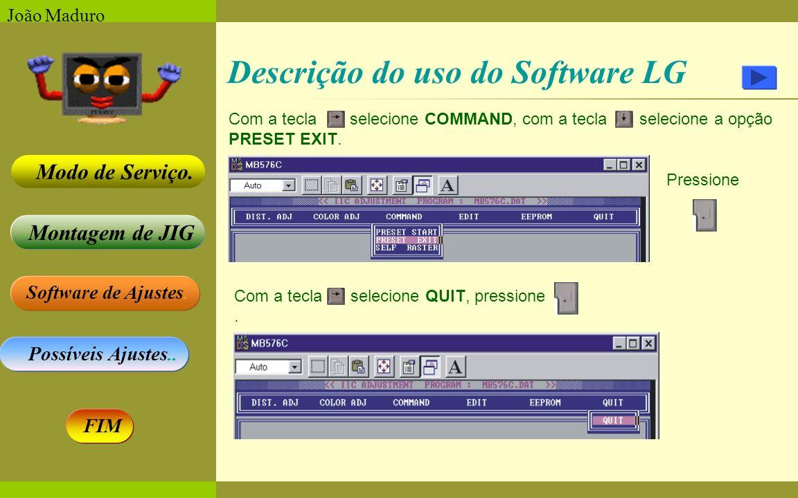Software de Ajustes. Possíveis Ajustes.. Montagem de JIG Modo de Serviço. FIM João Maduro Descrição do uso do Software LG Com a tecla selecione COMMAN