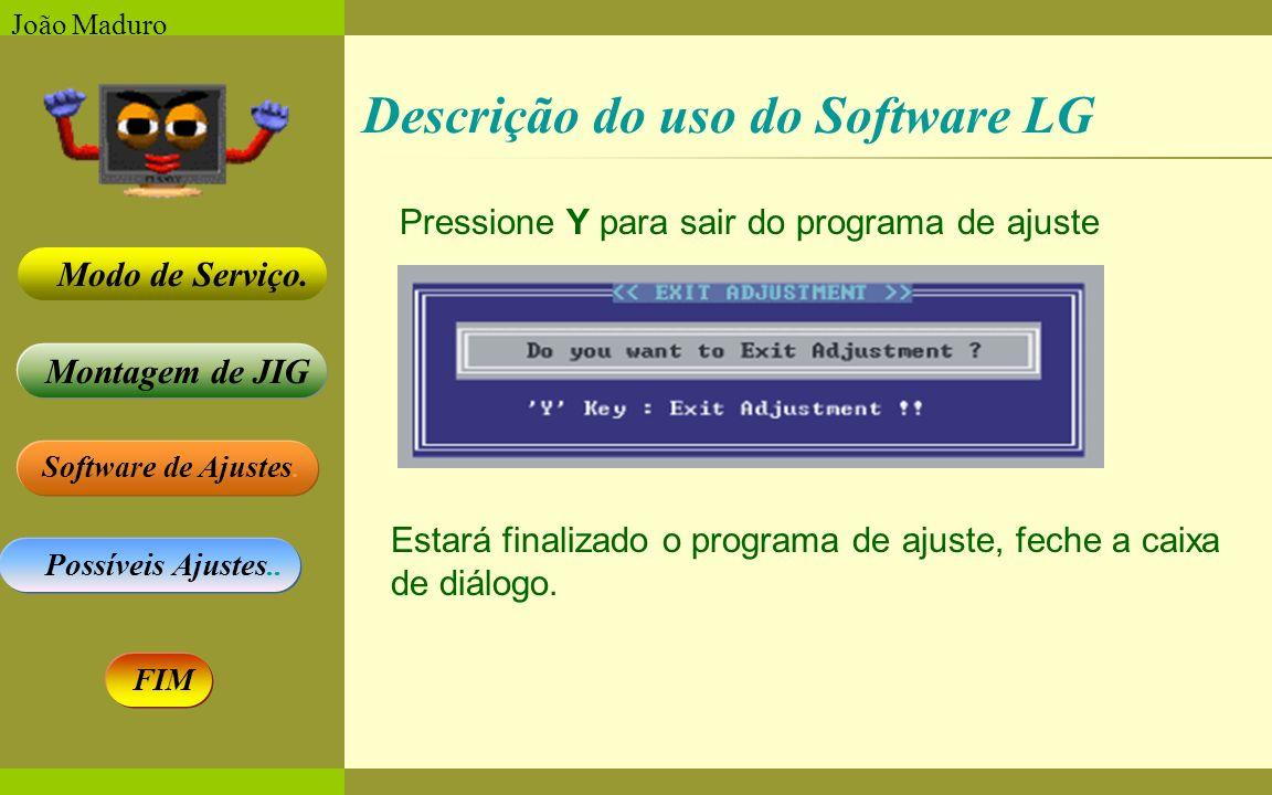 Software de Ajustes. Possíveis Ajustes.. Montagem de JIG Modo de Serviço. FIM João Maduro Pressione Y para sair do programa de ajuste Estará finalizad