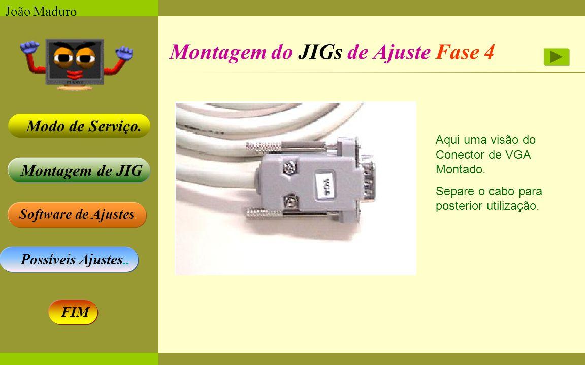 Software de Ajustes. Possíveis Ajustes.. Montagem de JIG Modo de Serviço. FIM João Maduro Montagem do JIGs de Ajuste Fase 4 Aqui uma visão do Conector