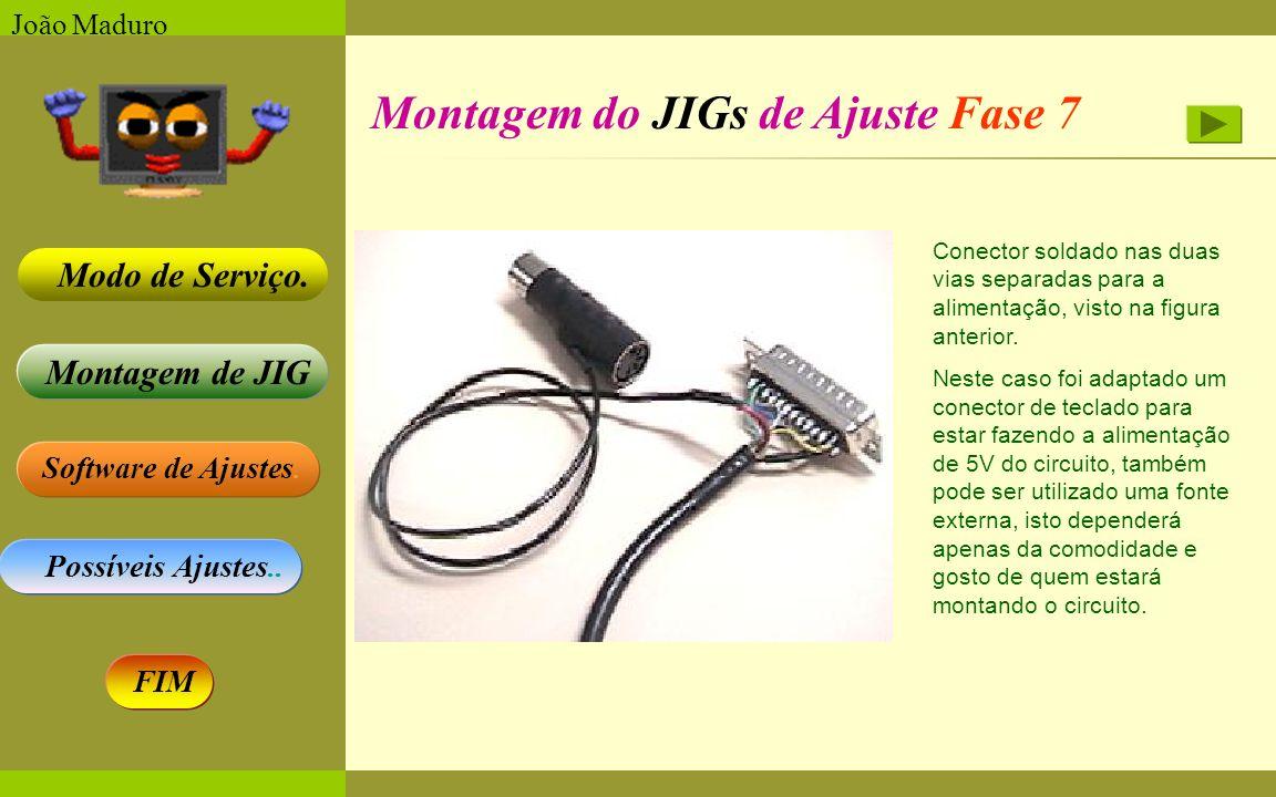 Software de Ajustes. Possíveis Ajustes.. Montagem de JIG Modo de Serviço. FIM João Maduro Montagem do JIGs de Ajuste Fase 7 Conector soldado nas duas