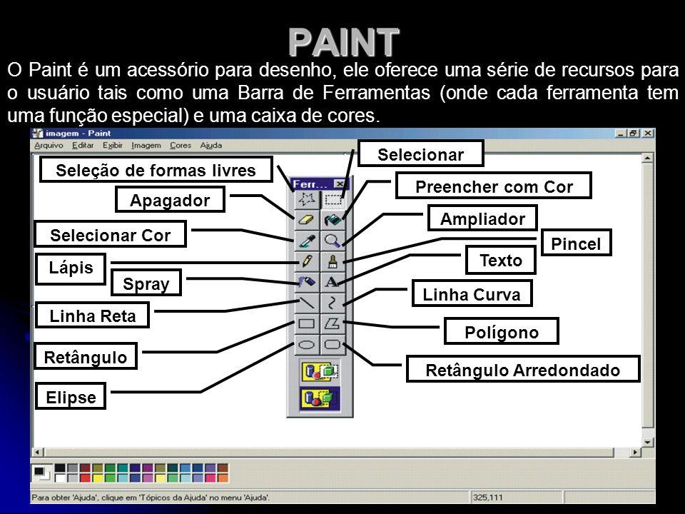PAINT O Paint é um acessório para desenho, ele oferece uma série de recursos para o usuário tais como uma Barra de Ferramentas (onde cada ferramenta t