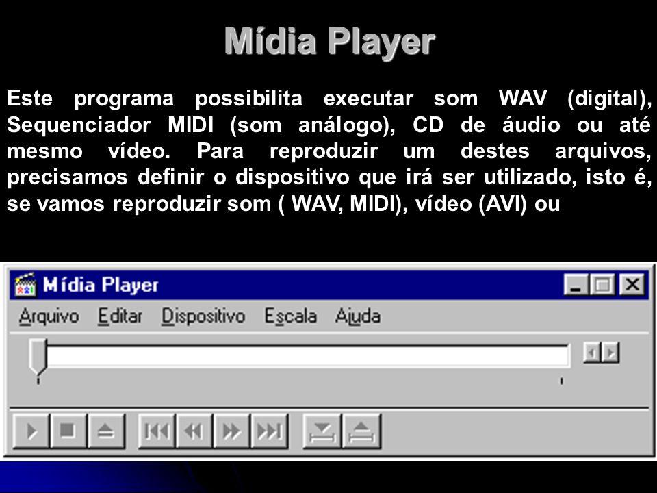 Mídia Player Este programa possibilita executar som WAV (digital), Sequenciador MIDI (som análogo), CD de áudio ou até mesmo vídeo. Para reproduzir um