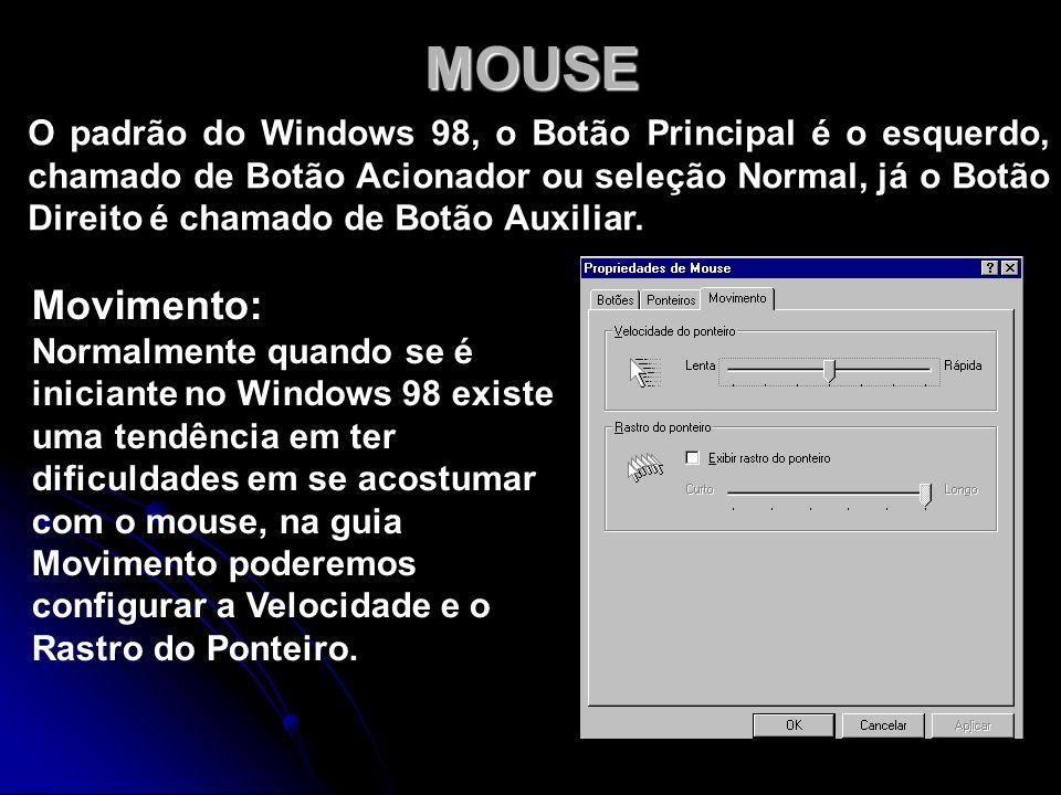 MOUSE O padrão do Windows 98, o Botão Principal é o esquerdo, chamado de Botão Acionador ou seleção Normal, já o Botão Direito é chamado de Botão Auxi