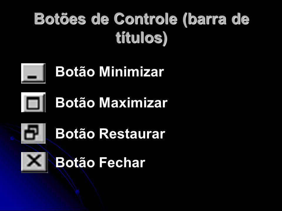 Botões de Controle (barra de títulos) Botão Minimizar Botão Maximizar Botão Restaurar Botão Fechar