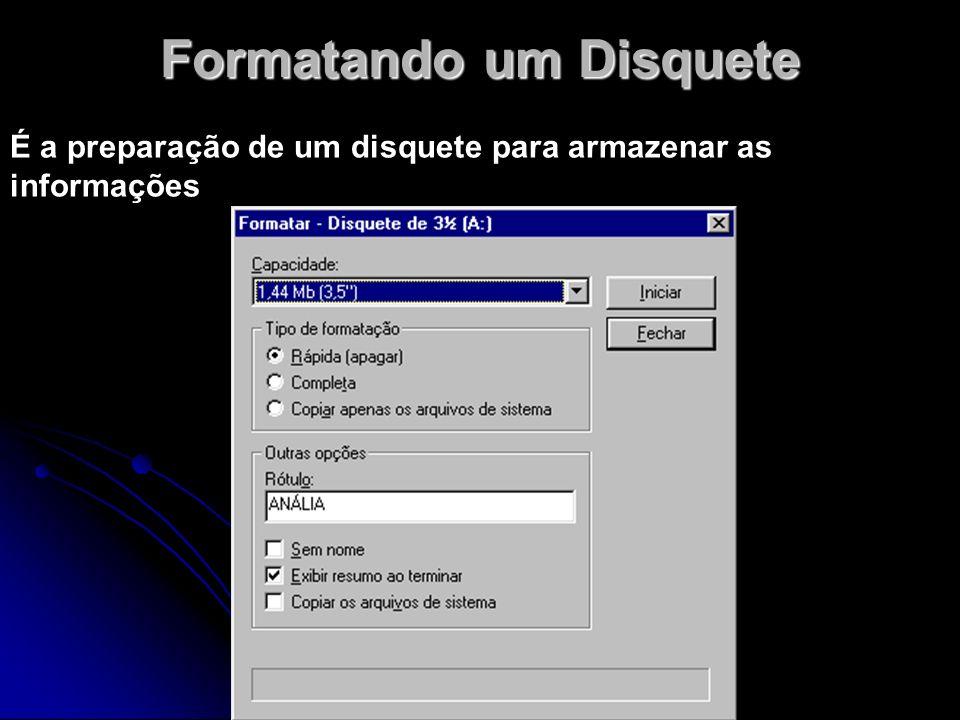 Formatando um Disquete É a preparação de um disquete para armazenar as informações