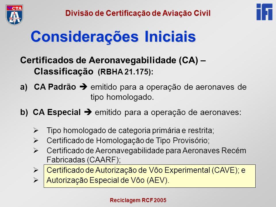Reciclagem RCF 2005 Divisão de Certificação de Aviação Civil Certificados de Aeronavegabilidade (CA) – Classificação (RBHA 21.175): a)CA Padrão emitido para a operação de aeronaves de tipo homologado.