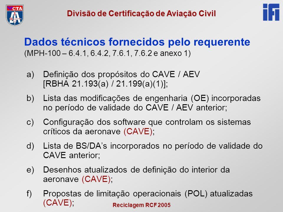 Reciclagem RCF 2005 Divisão de Certificação de Aviação Civil a)Definição dos propósitos do CAVE / AEV [RBHA 21.193(a) / 21.199(a)(1)]; b)Lista das modificações de engenharia (OE) incorporadas no período de validade do CAVE / AEV anterior; c)Configuração dos software que controlam os sistemas críticos da aeronave (CAVE); d)Lista de BS/DAs incorporados no período de validade do CAVE anterior; e)Desenhos atualizados de definição do interior da aeronave (CAVE); f)Propostas de limitação operacionais (POL) atualizadas (CAVE); Dados técnicos fornecidos pelo requerente (MPH-100 – 6.4.1, 6.4.2, 7.6.1, 7.6.2 e anexo 1)