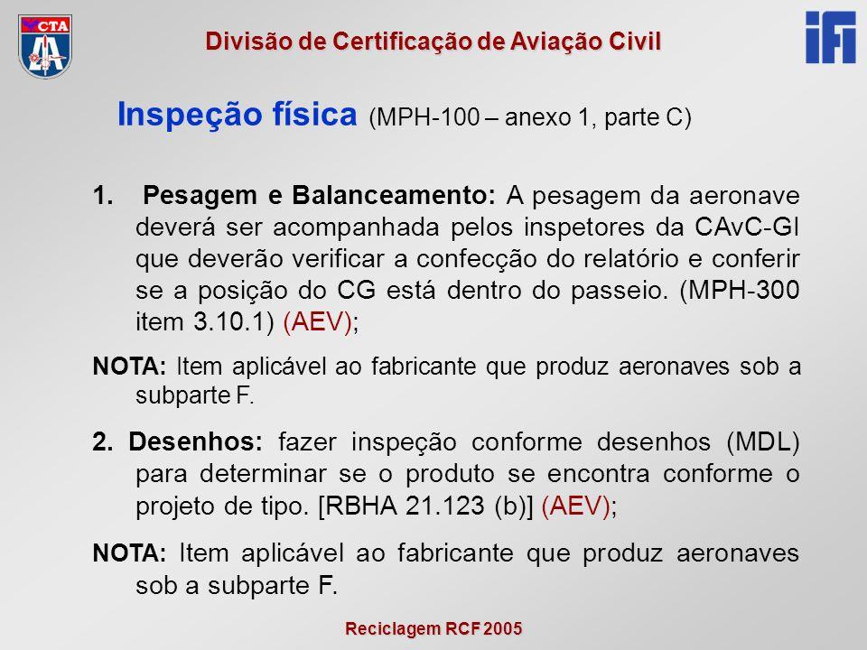 Reciclagem RCF 2005 Divisão de Certificação de Aviação Civil Inspeção física (MPH-100 – anexo 1, parte C) 1.