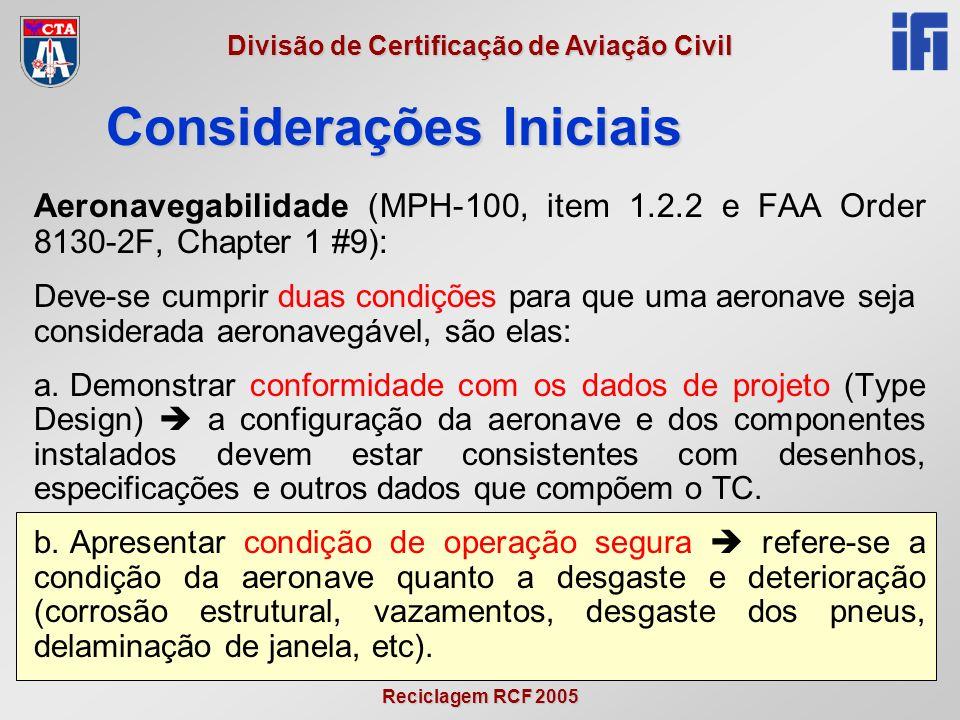 Reciclagem RCF 2005 Divisão de Certificação de Aviação Civil Inspeção física (MPH-100 – anexo 1, parte C) 8.