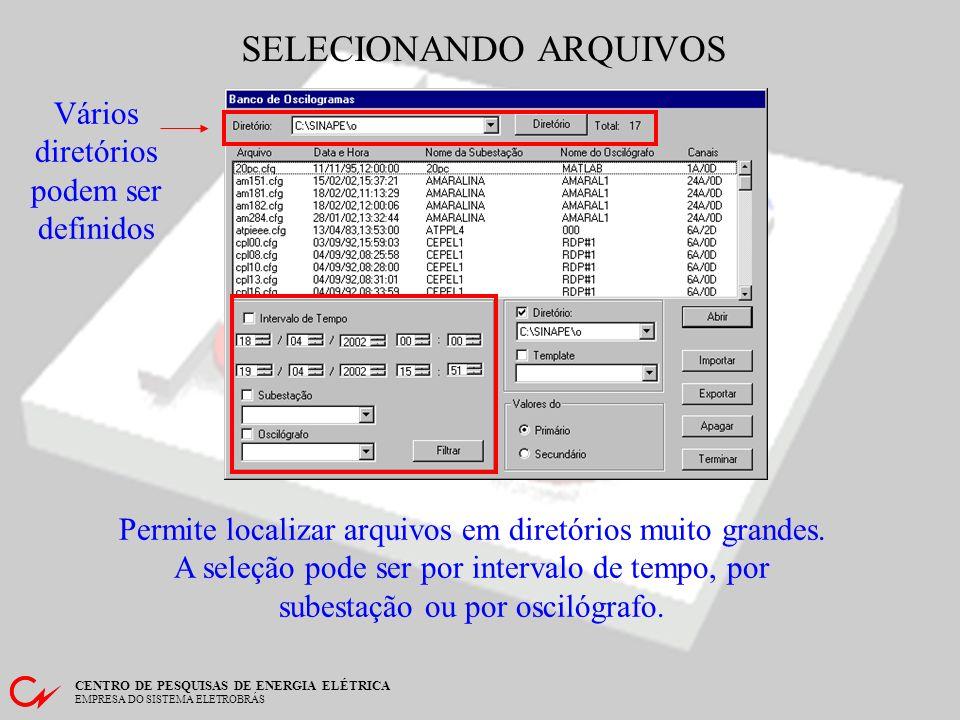 CENTRO DE PESQUISAS DE ENERGIA ELÉTRICA EMPRESA DO SISTEMA ELETROBRÁS LENDO ARQUIVOS ABRIR arquivo: em diretório cadastrado, no formato COMTRADE; IMPORTAR arquivo: de qualquer diretório, em formato proprietário; EXPORTAR arquivo: para qualquer diretório, no formato COMTRADE.