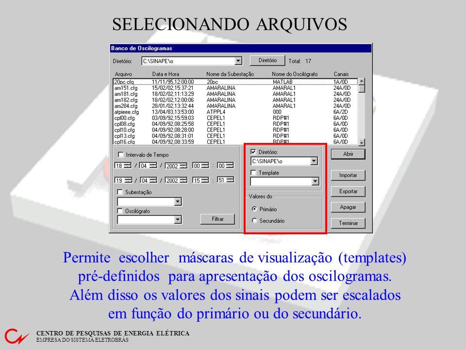 CENTRO DE PESQUISAS DE ENERGIA ELÉTRICA EMPRESA DO SISTEMA ELETROBRÁS SELECIONANDO ARQUIVOS Permite localizar arquivos em diretórios muito grandes. A