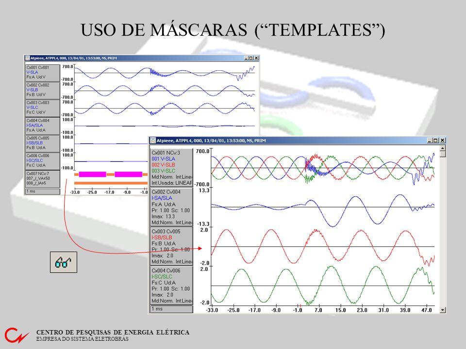 CENTRO DE PESQUISAS DE ENERGIA ELÉTRICA EMPRESA DO SISTEMA ELETROBRÁS Permite escolher máscaras de visualização (templates) pré-definidos para apresentação dos oscilogramas.