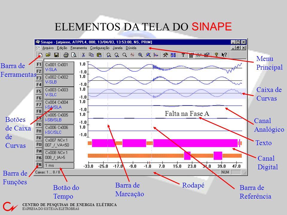 CENTRO DE PESQUISAS DE ENERGIA ELÉTRICA EMPRESA DO SISTEMA ELETROBRÁS Funções Adicionais - Análise Harmônica Elementos da Janela Gráfico dos Harmônicos Região da tela onde os harmônicos do sinal são desenhados Gráfico do Sinal O sinal é desenhado de forma que se possa selecionar o período sobre o qual se deseja calcular as componentes harmônicas Região dos resultados valores numéricos para referência rápida