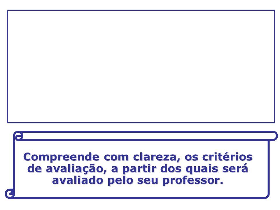 Compreende com clareza, os critérios de avaliação, a partir dos quais será avaliado pelo seu professor.