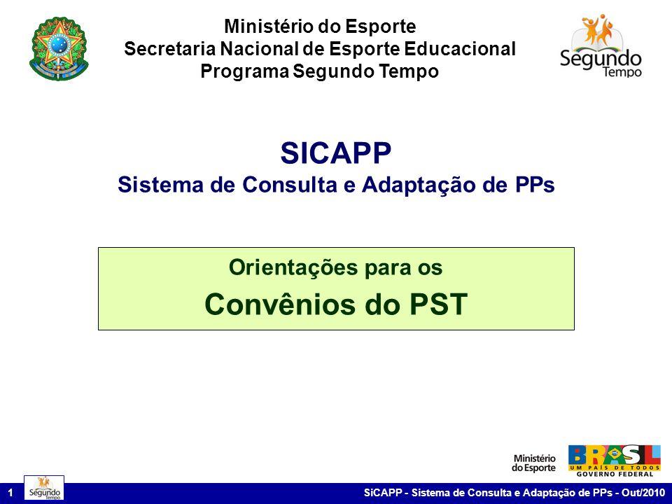 SiCAPP - Sistema de Consulta e Adaptação de PPs - Out/2010 1 Ministério do Esporte Secretaria Nacional de Esporte Educacional Programa Segundo Tempo Orientações para os Convênios do PST SICAPP Sistema de Consulta e Adaptação de PPs