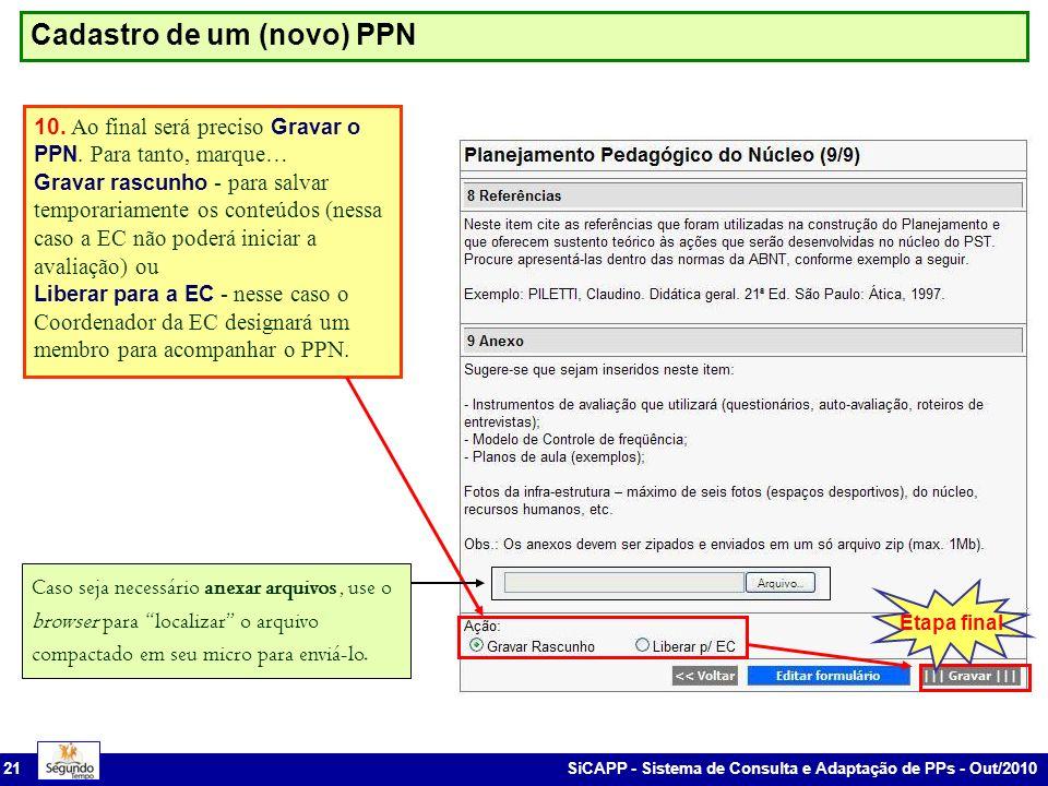 SiCAPP - Sistema de Consulta e Adaptação de PPs - Out/2010 21 Cadastro de um (novo) PPN 10.