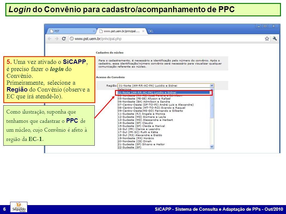 SiCAPP - Sistema de Consulta e Adaptação de PPs - Out/2010 6 Login do Convênio para cadastro/acompanhamento de PPC 5. Uma vez ativado o SiCAPP, é prec