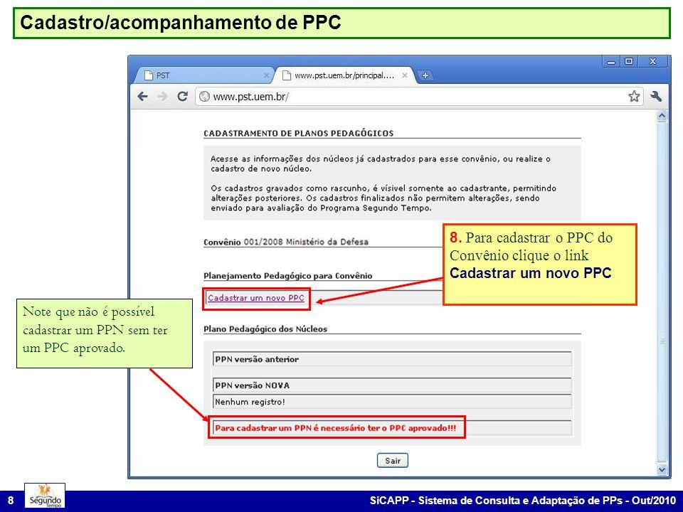 SiCAPP - Sistema de Consulta e Adaptação de PPs - Out/2010 8 Cadastro/acompanhamento de PPC 8. Para cadastrar o PPC do Convênio clique o link Cadastra