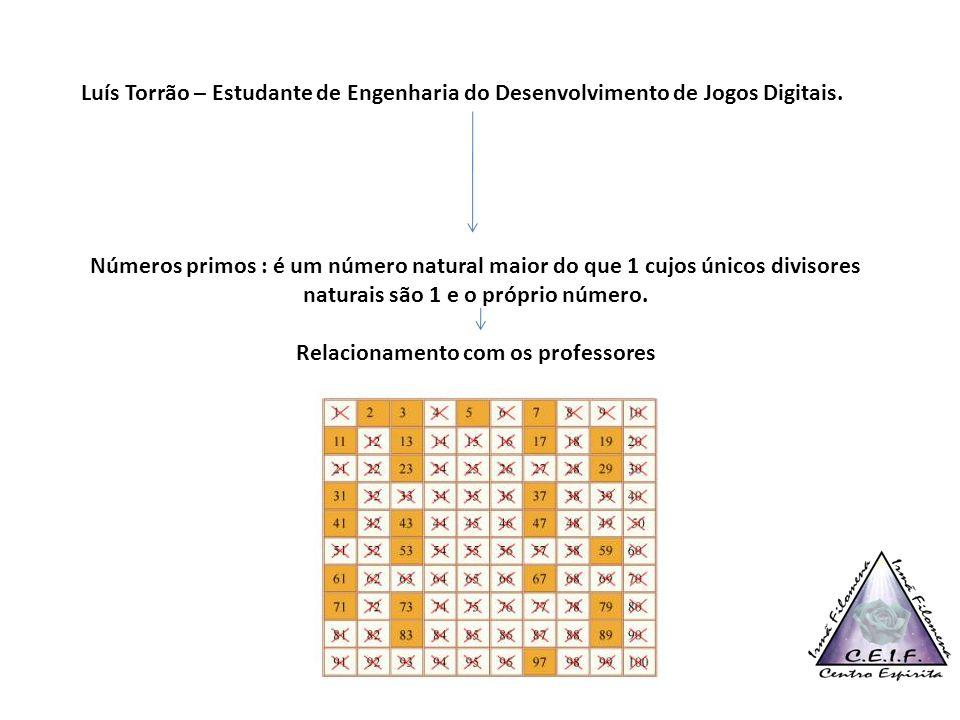 Luís Torrão – Estudante de Engenharia do Desenvolvimento de Jogos Digitais. Números primos : é um número natural maior do que 1 cujos únicos divisores