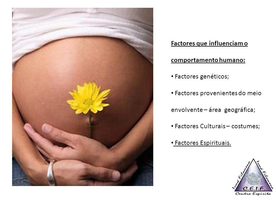 Factores que influenciam o comportamento humano: Factores genéticos; Factores provenientes do meio envolvente – área geográfica; Factores Culturais –